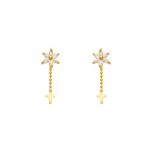 443-468 Dangling Cross CZ Stud Earrings