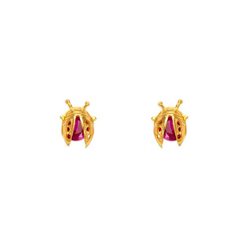 443-416 5mm Ladybug CZ Stud Earrings