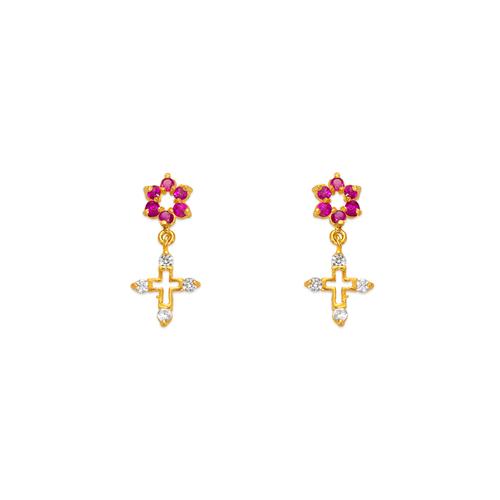 443-418 Dangling Cross CZ Stud Earrings