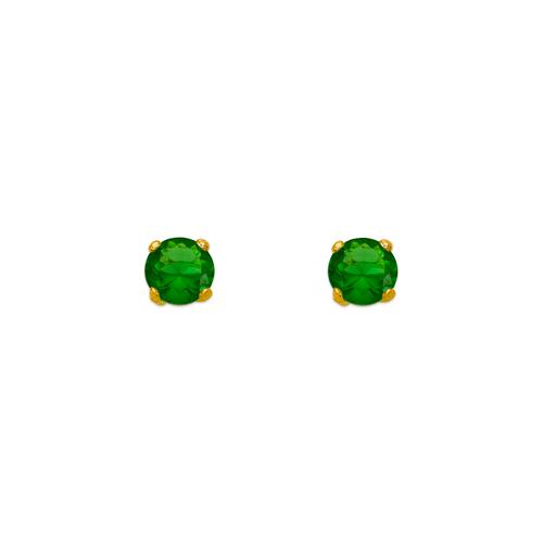 543-101GR Green Emerald Birthstone CZ Screwback Stud Earrings