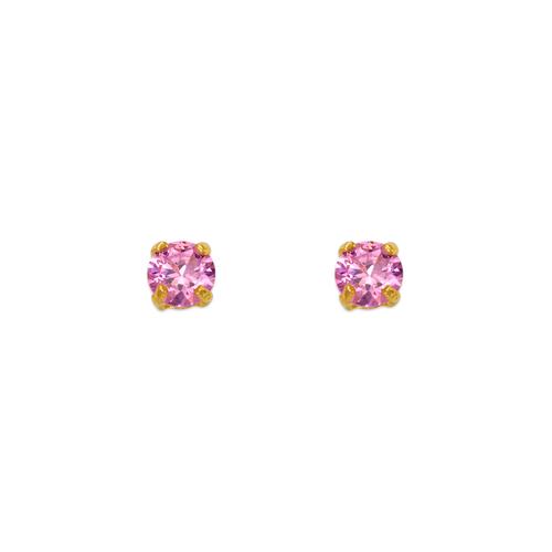 543-101PK Pink Birthstone CZ Screwback Stud Earrings