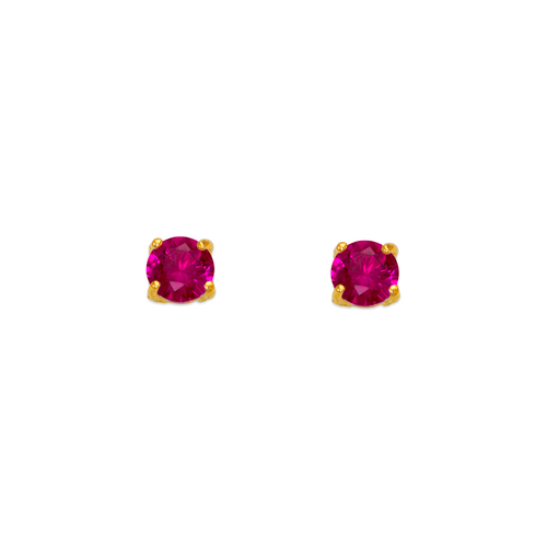 543-101RD Ruby Birthstone CZ Screwback Stud Earrings
