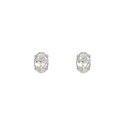 543-111W Oval Cut CZ Stud Earrings