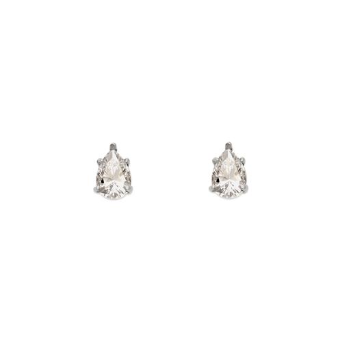 543-115W Teardrop Cut CZ Stud Earrings