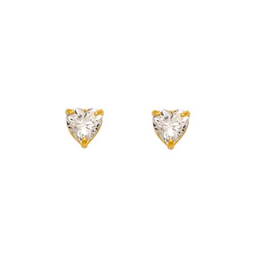 543-122 Heart Cut CZ Stud Earrings