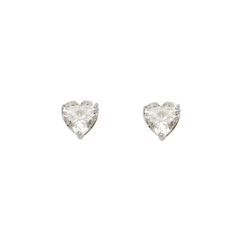 543-122W Heart Cut CZ Stud Earrings