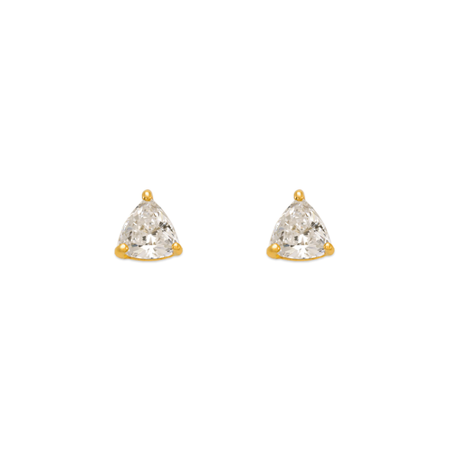 543-125 Rounded Triangle Cut CZ Stud Earrings