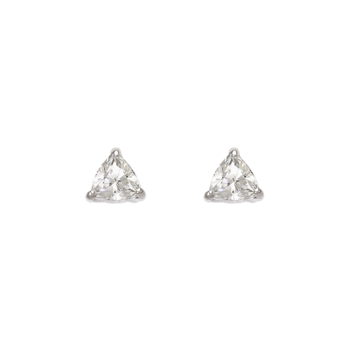 543-125W Rounded Triangle Cut CZ Stud Earrings