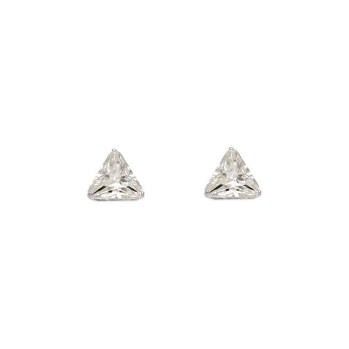 543-128W Triangle Cut CZ Stud Earrings