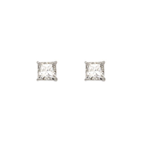 543-131W Princess Cut CZ Stud Earrings