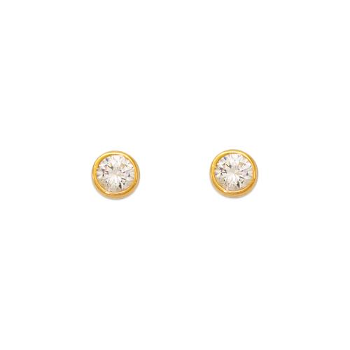 543-141 Round Beveled CZ Stud Earrings