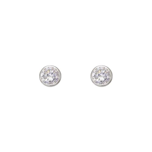 543-141W Round Beveled CZ Stud Earrings
