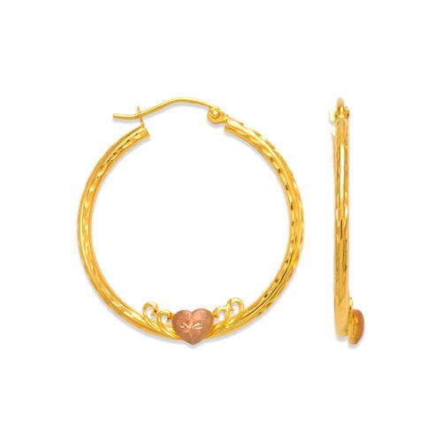 546-451S 2mm Round Tube Heart Hoop Earrings