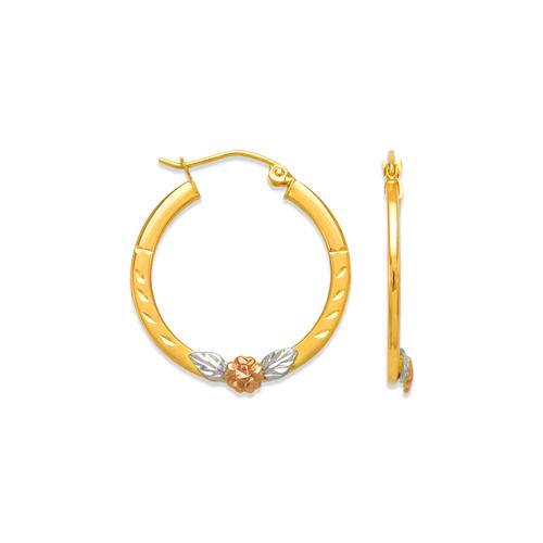546-461S 2.5mm Square Tube Flower Flat Hoop Earrings