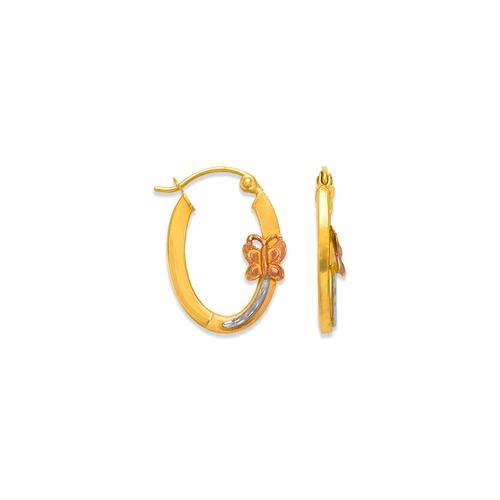 546-471S 2.5mm Square Tube Butterfly Hoop Earrings