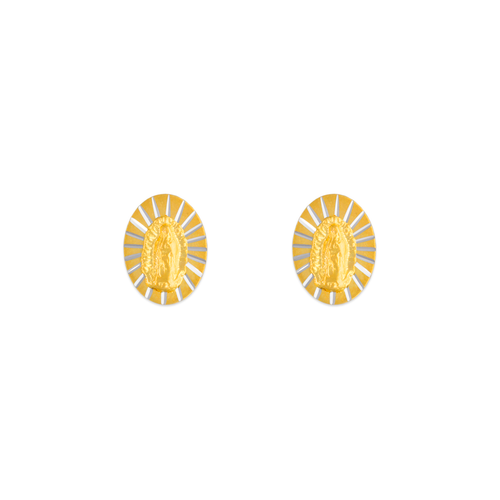 343-302 Oval Virgin Mary Stud Earrings