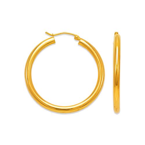 546-131S 3mm Round Tube Hoop Earrings