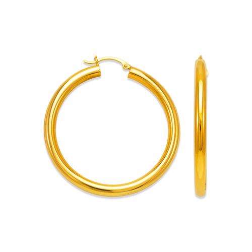 546-141S 4mm Round Tube Hoop Earrings