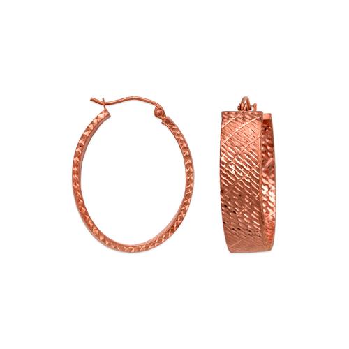 546-661RS 1.5x8mm Square Tube Rose Hoop Earrings