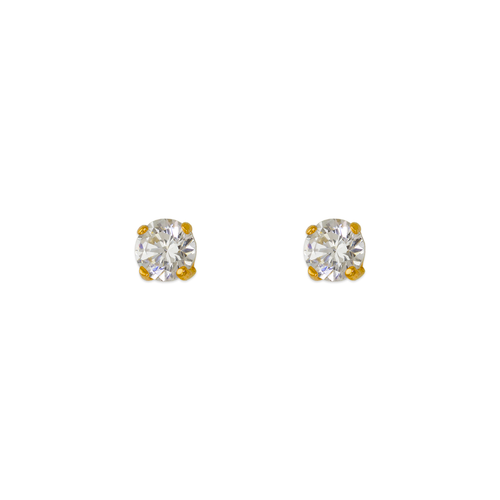 543-101PS Yellow Gold Pushback CZ Stud Earrings