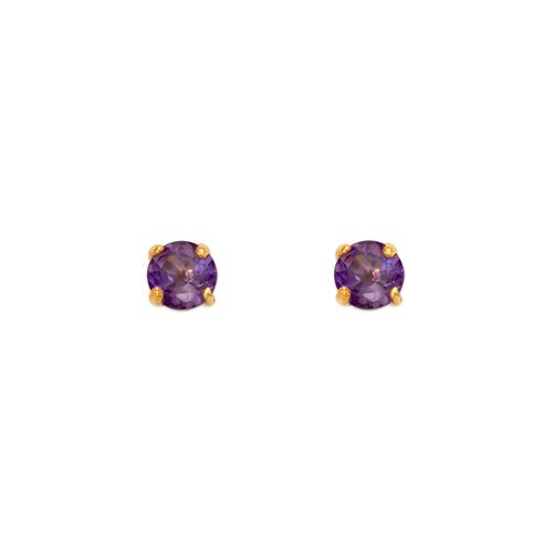 543-101LP Light Purple Amethyst Birthstone Screw Back CZ Stud Earrings