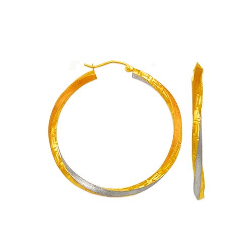 546-842TS 3mm Square Twist Tube Hoop Earrings