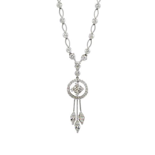 483-001W Fancy White CZ Necklace