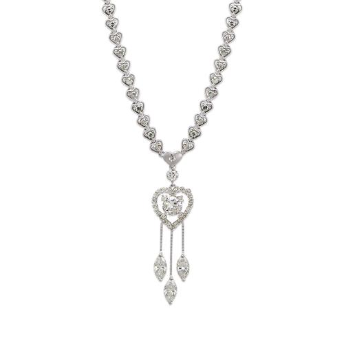 483-005W Fancy White Heart CZ Necklace
