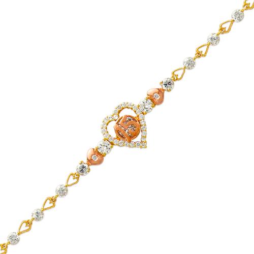 483-010 Ladies Fancy 15 Anos CZ Bracelet
