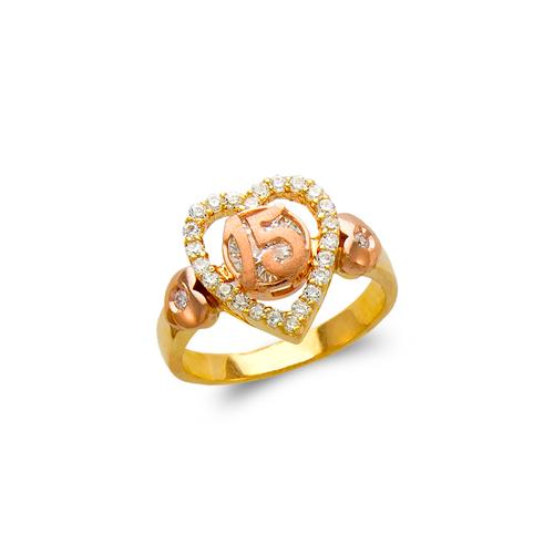 483-011 Ladies Fancy 15 Anos Heart CZ Ring