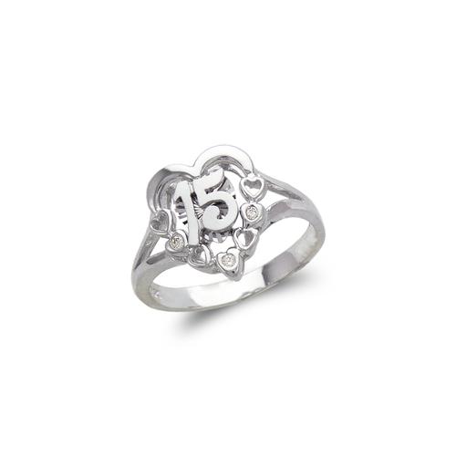 483-103W Ladies Fancy White 15 Anos CZ Ring
