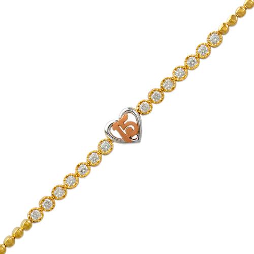 483-105 Ladies Fancy 15 Anos Heart CZ Bracelet