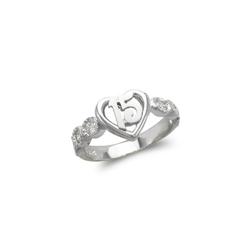 483-107W Ladies Fancy White 15 Anos CZ Ring