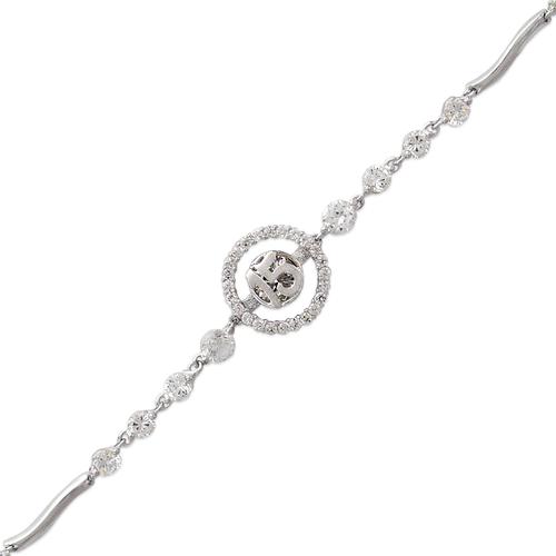 483-109W Ladies Fancy 15 Anos Halo White CZ Bracelet