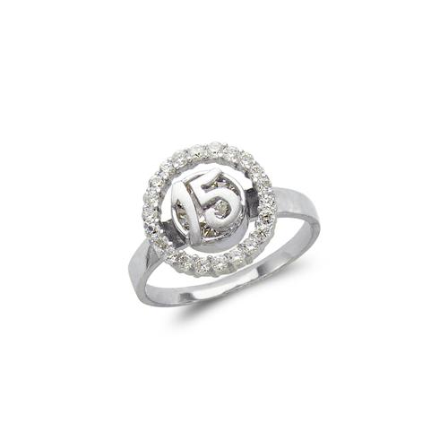 483-111W Ladies Fancy White 15 Anos CZ Ring