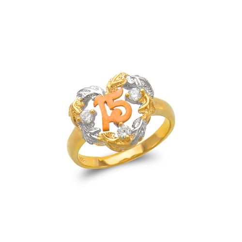 483-118 Ladies Fancy 15 Anos Heart CZ Ring