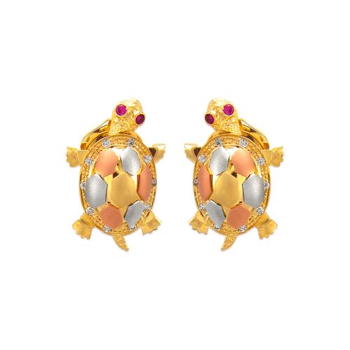 483-221 Fancy Turtle Omega Back CZ Earrings