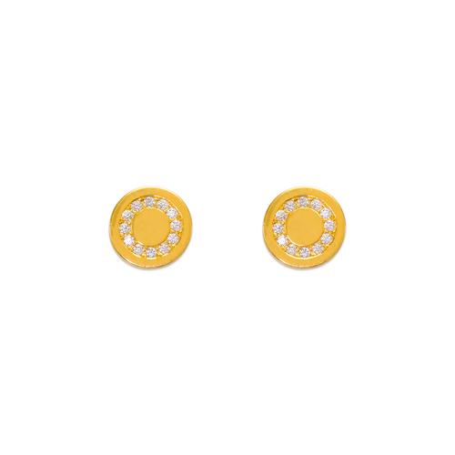 343-141 Coin Circle CZ Stud Earrings