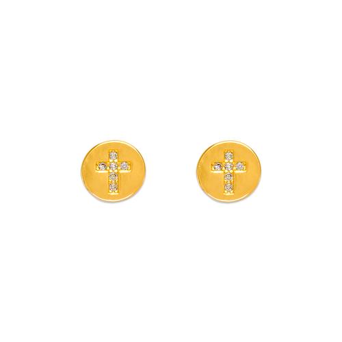 343-142 Coin Cross CZ Stud Earrings