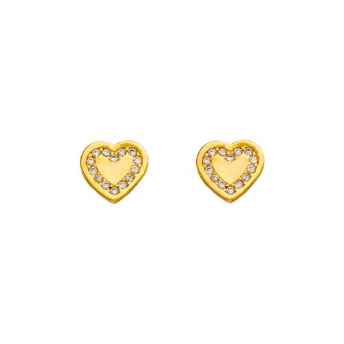 343-143 Coin Heart CZ Stud Earrings