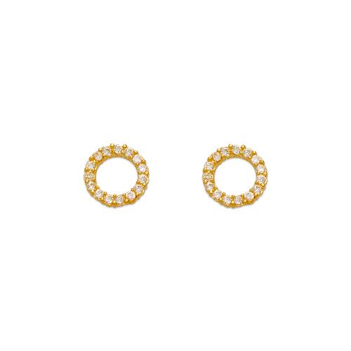 343-151 Circle Pave CZ Stud Earrings