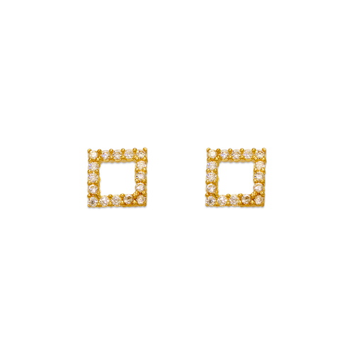 343-152 Square Pave CZ Stud Earrings