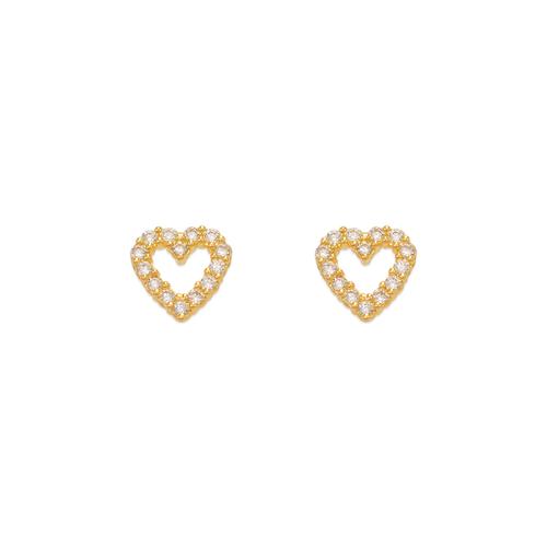 343-154 Heart Pave CZ Stud Earrings