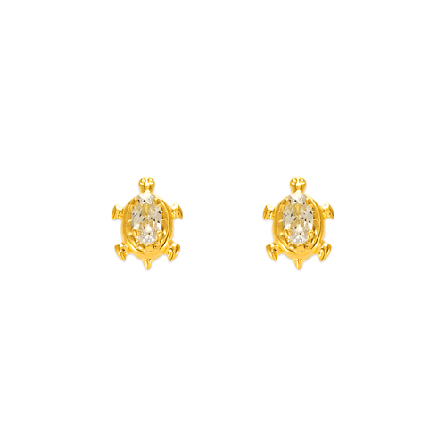 343-218 Turtle CZ Stud Earrings