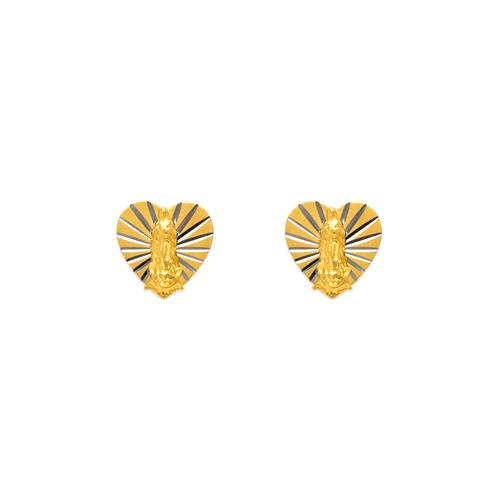 343-303S Small Virgin Mary Heart Stud Earrings