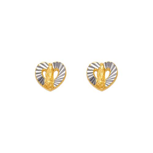 343-309 Diamond Cut Guadalupe Heart Stud Earrings
