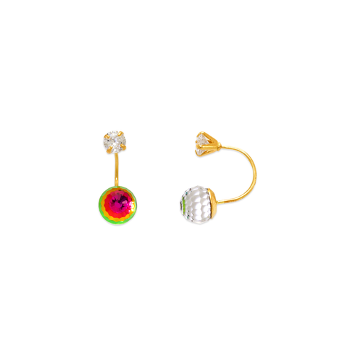 343-611 Disco Ball Telephone CZ Stud Earrings