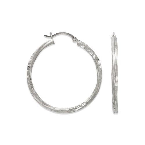 546-531WS 2.5mm Square Twist Tube Hoop Earrings