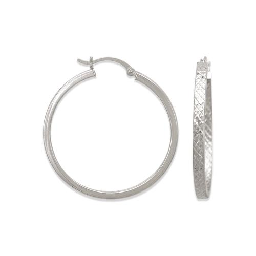 546-541WS 3mm Square Twist Tube Hoop Earrings