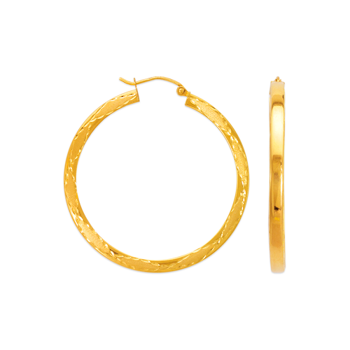 546-551S Satin Diamond Cut Square Design Hoop Earrings